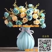 陶瓷花瓶創意時尚簡約現代客廳餐桌電視柜干花花插花器擺件【happybee】