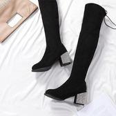 過膝長筒靴女2018秋冬季新款韓版顯瘦百搭后系帶性感長筒靴高筒靴