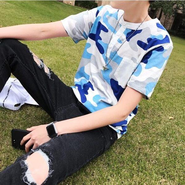找到自己品牌 潮男 新款小清新 立領鈕扣 淺迷彩 男短袖 T恤