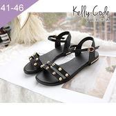 大尺碼女鞋-凱莉密碼-夏日性感金屬鉚釘真皮羅馬平底涼鞋2cm(41-46)【YGL4062】黑色