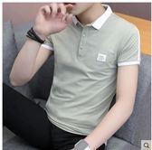 POLO衫夏季潮流韓版襯衫領短袖POLO衫2019新款有帶領短袖T恤男翻領衣服 非凡小鋪