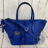 BRAND楓月 TOD S SHOPPING ZIP FOD MINI 寶藍 2WAY 兩用包 購物袋 肩背包 手提包