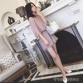 2018夏裝新款韓版省心搭配心機套裝女雪紡闊腿短褲連身褲兩件套潮  Cocoa