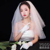 新款新娘結婚頭紗頭飾超仙森繫寫真婚紗旅拍自拍雙層拍  優尚良品