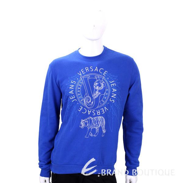 VERSACE 藍色LOGO圖騰設計棉質長袖上衣 1540274-23