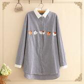 梅梅露*【55190078】日風森林女孩可愛小貓咪家族刺繡格紋長袖襯衫上衣