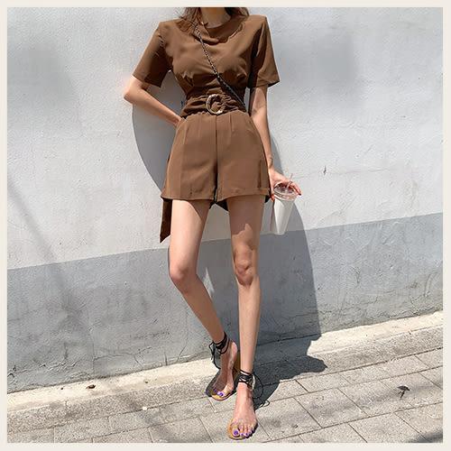 ✦Styleon✦正韓。優雅圓環收腰圓領短袖寬管短連身褲。韓國連線。韓國空運。0703。