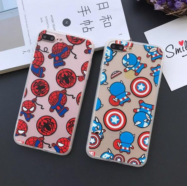 【SZ33】iPhone 7/8 保護殼 蠶絲紋Q版復仇者聯盟 iphone 6 plus手機殼 iPhone 7/8 plus 保護殼 iphone 6s 手機殼