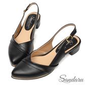 訂製鞋 訂製壓折金邊尖頭中跟鞋-黑色下單區