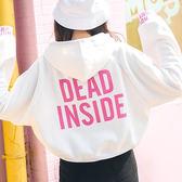 現貨-T恤-短版背字DEAD連帽加絨上衣 Kiwi Shop奇異果1123【SPK8370】