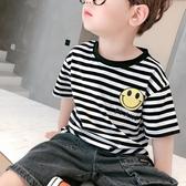 男童短袖上衣 寶寶短袖T恤洋氣男童夏裝半袖上衣兒童夏季條紋打底衫正韓潮-Ballet朵朵