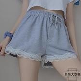 短褲女寬鬆休閒薄款高腰a字闊腿褲蕾絲拼接褲子夏季【時尚大衣櫥】