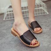 拖鞋夏季素色露趾平底復古踩線一字拖免運直出 交換禮物