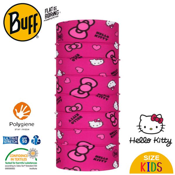 【BUFF 西班牙 兒童 Kitty 經典頭巾 Plus 粉紅蝴蝶結】121572/圍脖/帽子/口罩/圍巾/吸溼排汗