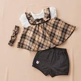 【金安德森】春夏彌月禮盒-可愛格子背心+仿牛仔短褲