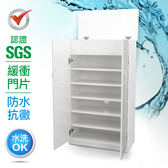 IHouse-SGS 防潮抗蟲蛀緩衝塑鋼可掀式雙開門鞋櫃胡桃白