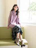 秋冬7折[H2O]圍裹一片裙不對稱設計格子長裙 - 黃/紫/黑色 #9652016