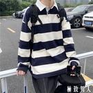 長袖t恤 男秋季潮牌ins黑白條紋polo衫學生情侶裝日系休閒寬鬆上衣 【極致男人】