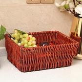 創意水果籃藤編柳編水果盤糖果盤方形家用客廳宜家面包籃子收納筐 初色家居館
