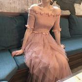 一字領洋裝 2019新款連身裙超仙甜美網紗拼接蛋糕裙