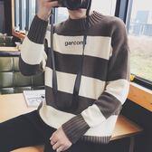 條紋毛衣韓版男士圓領套頭修身針織衫外套潮男裝