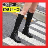 長靴騎士靴長筒靴膝下靴平底長靴平底靴馬鞍靴41 側拉鏈黃黑棕34 42 ~AAA2728