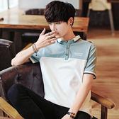 男士短袖T恤夏季新款韓版翻領Polo衫潮流修身男裝半袖體恤上衣服 完美情人精品館