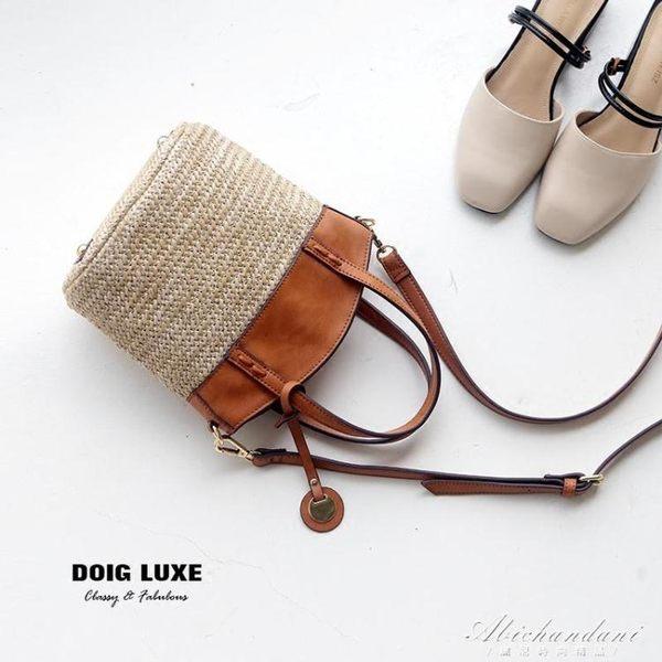 草編包沙灘度假編織包牛皮手提水桶包側背斜背女包  黛尼時尚精品