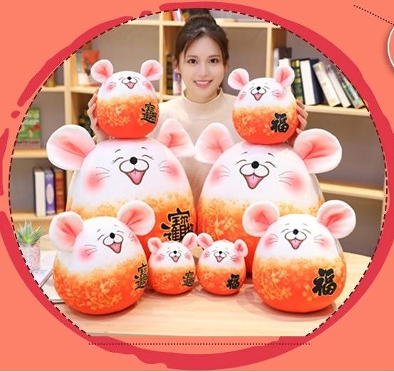 【25公分】櫻花鼠 招財進寶錢鼠娃娃 福鼠玩偶 新年快樂吉祥物公仔 居家裝飾 鼠年行大運