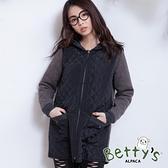 betty's貝蒂思 棉質拼接內刷毛連帽大衣(黑色)