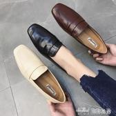 新款復古英倫風方頭低跟平底小皮鞋女踩跟深口單鞋 雙十二特惠