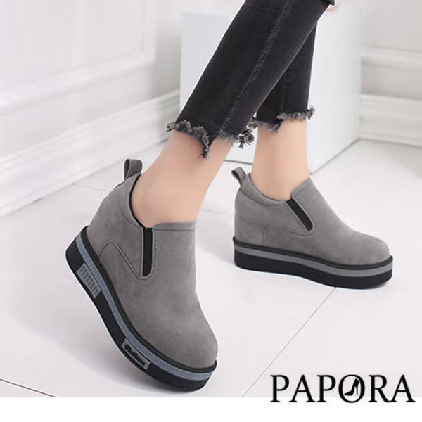 休閒鞋.美腿隱形內增高包鞋【KY3146】灰/黑