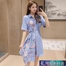 襯衫洋裝 不規則碎花洋裝女夏新款收腰顯瘦氣質襯衫裙子仙女超仙森系 星河光年