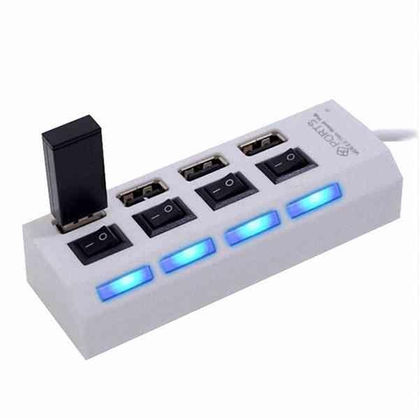 4 Port 獨立 開關 USB 2.0 HUB 集線器 插座型 分線器 iX i8 Plus Note8 A8 J7 XA1 XZ Zenfone5 4 紅米 『無名』 G11118