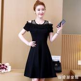 露肩洋裝裙 夏季女裝新款短袖小禮服裙減齡中長大碼連身裙 EY6355『樂愛居家館』