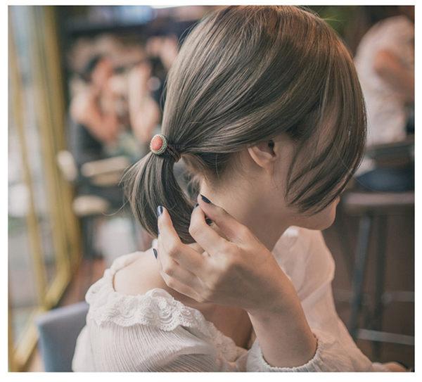 【O-ni O-ni】韓版女性布料髮圈紐釦造型款式彈力圈S925-34紅色