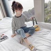 女童長袖T恤2018新款秋裝韓版體恤兒童T恤春秋長袖條紋打底衫上衣