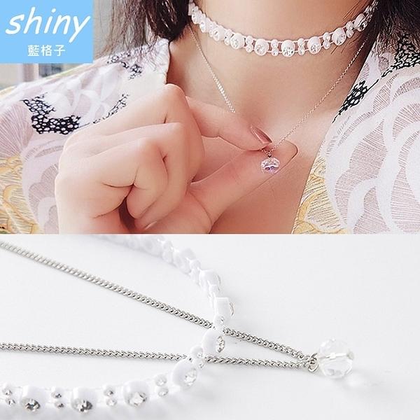 【DJW5101】shiny藍格子-鑽水晶吊墜雙層鏈條頸鍊