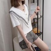 大碼衣著上衣針織衫V領中大尺碼XL-4XL洋氣冰絲針織短袖T卹胖妹妹遮肚子上衣MB159-744.胖胖美依