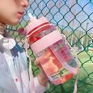 杯子超大容量塑膠水杯女便攜帶吸管學生戶外運動健身水壺男杯子2000ml【七月特惠】