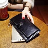 禮物 新款時尚長款錢包女真皮搭扣復古超薄牛皮手機錢夾軟皮手拿包 阿卡娜
