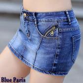 短褲裙 - 假2件口袋拉鍊造型牛仔短褲/牛仔短裙/短熱褲【23324】《S~L》Blue Paris