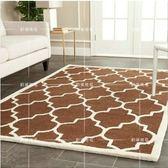 時尚簡約宜家圖案客廳茶幾沙發地毯臥室床邊毯熱賣格子地毯(白 咖)