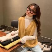 短款針織背心馬甲女韓版無袖外穿毛衣開衫潮【左岸男裝】
