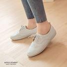 軟皮革綁帶英倫休閒鞋(36-40)-白 ...
