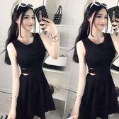 夏新款時尚性感夜店圓領鏤空無袖露肩高腰修身顯瘦短裙洋裝 卡布奇诺