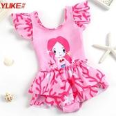 兒童泳衣女女童公主裙式ins風可愛嬰幼兒小童寶寶卡通溫泉游泳裝