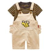 短袖套裝 卡通小蜜蜂 條紋上衣 + 吊帶褲 寶寶童裝 CK0246 好娃娃