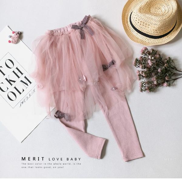 純棉 浪漫粉嫩緞帶珍珠花薄紗褲裙 甜美 優雅 秋款 紗裙 女童 內搭褲 粉色 女童褲裙 哎北比童裝