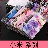 【萌萌噠】Xiaomi 小米8 Max3 Mix2S 男女高配款 蠶絲紋可愛彩繪側翻皮套 可磁扣插卡支架 附掛繩